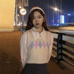 Concerindo - Argyle Sweater Vest / Plain Shirt / Pleated Mini A-Line Skirt