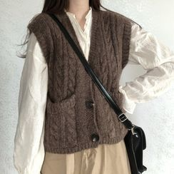 Avox - Plain Knit Vest / Long-Sleeve Ruffle Trim Blouse