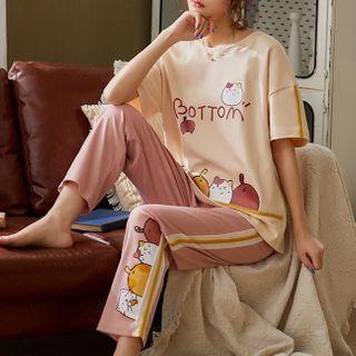 Featherbright - Short Sleeve Round Neck Print Pajama Set
