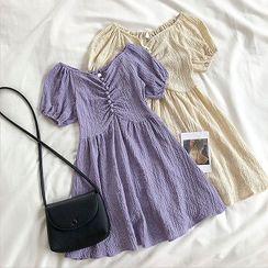 DIYI - Plain Off-Shoulder Puff-Sleeve Dress
