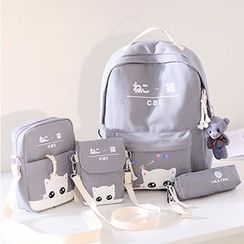 Bianka - 套装: 小猫印花帆布背包 + 斜挎包 + 小袋