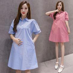 Mamaladies - Maternity  Short-Sleeve Mini Striped Collared Dress