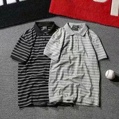 DuckleBeam - Polo Collar Striped Short-Sleeved Top
