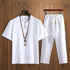 Andrei - Set: Short-Sleeve Placket T-Shirt + Pants