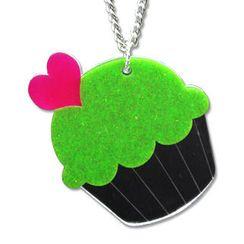 Sweet & Co. - XL可爱闪烁闪绿CUPCAKE吊嘴颈链