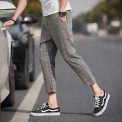 POSI - Plaid Cropped Straight Leg Pants