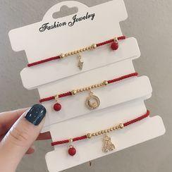 True Glam - 音符紅繩手鏈