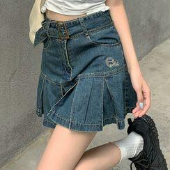Horis(ホリス) - High-Waist Pleated Denim Skirt