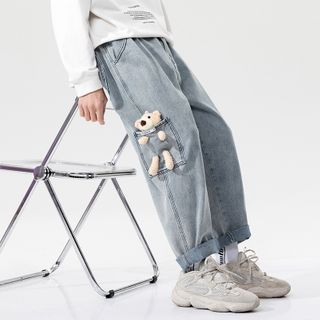 Deepwood(ディープウッド) - Teddy Bear Wide-Leg Jeans