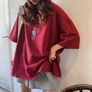 Ashlee - Elbow-Sleeve Oversize Printed T-Shirt