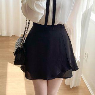 MyFiona - Inset Shorts Flared Wrap Miniskirt