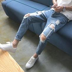 Goretti - Distressed Slim-Fit Jeans
