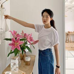 FROMBEGINNING - Short-Sleeve Plain T-Shirt