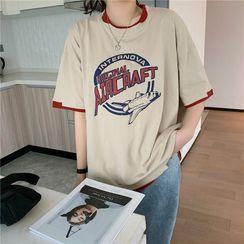 Cloud Nine - Mock Two-Piece Printed T-Shirt
