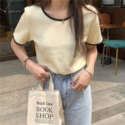 PINPI - Short-Sleeve Contrast Trim Knit T-Shirt