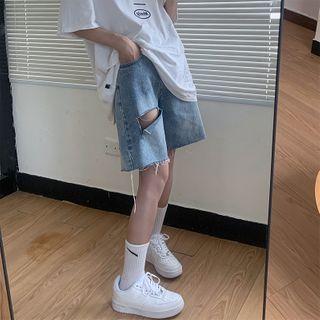 Iduna - Washed Distressed Wide Leg Denim Shorts
