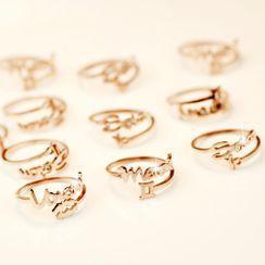 Estro - 不锈钢星座字母开口戒指