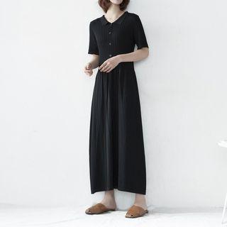 YUNBO - Short-Sleeve A-Line Knit Dress