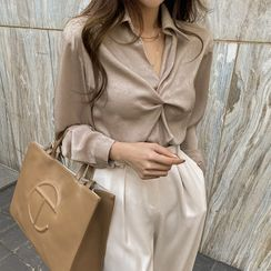 DABAGIRL - Knot-Front Silky Shirt