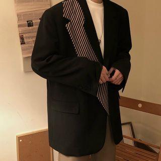 JISHOM - Striped Panel Single-Breasted Blazer