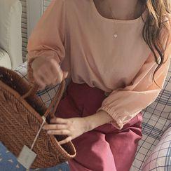 Windcatcher - 燈籠袖純色襯衫/高腰純色褲