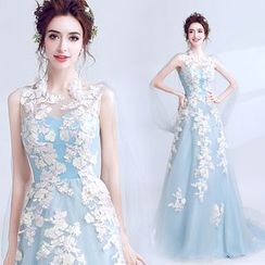 Angel Bridal - Embroidery Dip-Back Evening Gown
