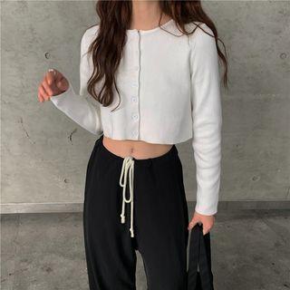 Maisee - Drawstring Wide-Leg Jogger Pants / Long-Sleeve Cropped Cardigan