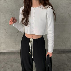 Maisee - Drawstring Wide-Leg Pants / Long-Sleeve Cropped Cardigan