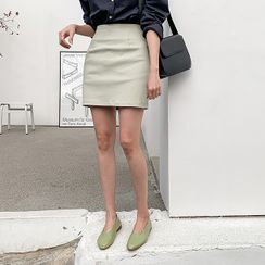 MERONGSHOP - Zip-Side Mini Skirt