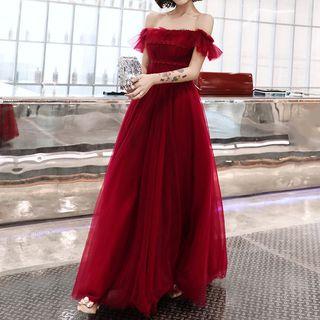 Rosita - 短袖露肩蕾絲邊A字晚禮服