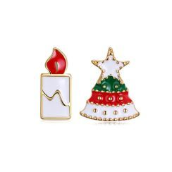 BELEC - Christmas Tree and Candle Asymmetric Earrings