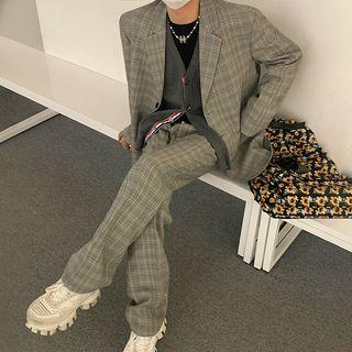MRCYC - Plaid Blazer / Wide-Leg Dress Pants