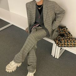 MRCYC - Plaid Blazer / Wide-Leg Dress Pants