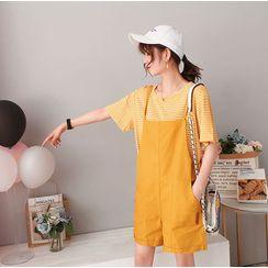 Clover Dream - 兩件套: 條紋T恤 + 純色孕婦背帶褲