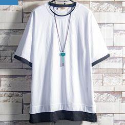 Soinku - Elbow-Sleeve Mock Two Piece T-Shirt