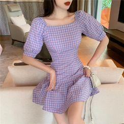 IKIO - Short-Sleeve Plaid Mini A-Line Dress