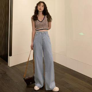 Akino - Plaid Knit Vest / Wide Leg Jeans