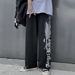 Banash - Lettering Straight-Cut Sweatpants