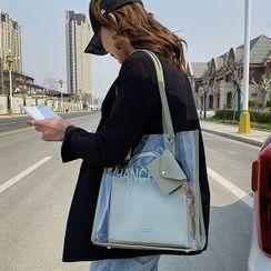 Velocia - 套装: 透明手提袋 + 仿皮手提包 + 迷你小袋