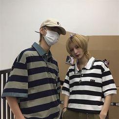 Porstina - Couple Matching Elbow-Sleeve Striped Polo Shirt