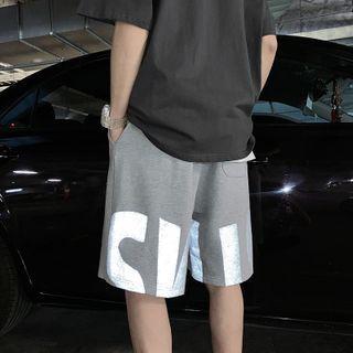 MIKAEL - 反光字母運動短褲