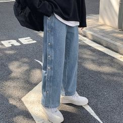 Rain Moment - Side Button-Up Wide-Leg Jeans