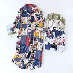 Dogini - 3/4-Sleeve Print Pajama Dress
