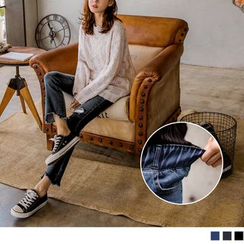 OrangeBear - Frayed Asymmetric Hem Boot-Cut Jeans