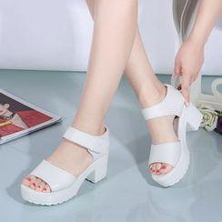 Weiya - Chunky Heel Ankle Strap Platform Sandals