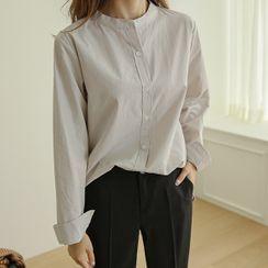 JUSTONE - Mandarin-Collar Slit-Side Cotton Shirt