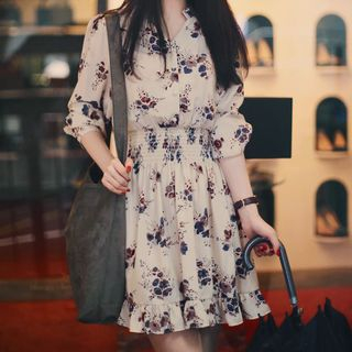 Arroba - Floral Elbow-Sleeve Chiffon Dress