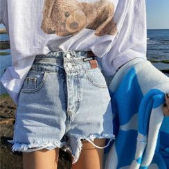 Piwonia - 高腰做旧牛仔短裤