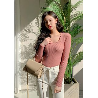 chuu - Square-Neck Ribbed Top (7 Colors)