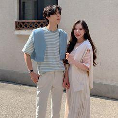 MRCYC - Couple Matching Striped Elbow-Sleeve T-Shirt